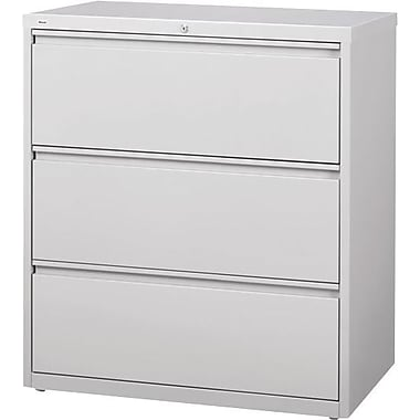 Hirsh HL10000 Series Lateral File Cabinet, 3-Drawer, Grey