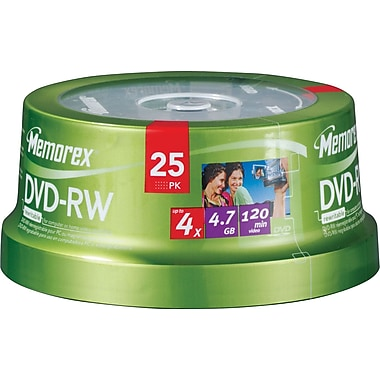 Memorex 25/Pack 4.7GB 4X DVD-RW, Spindle