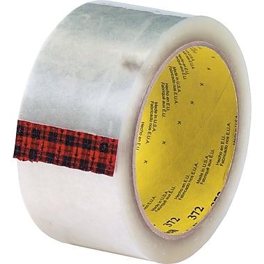 3M #372 Hot Melt Packaging Tape, 2in.x1000 yds., Clear, 6/Case