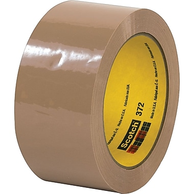 3M #372 Hot Melt Packaging Tape, 2in.x55 yds., Tan, 36/Case