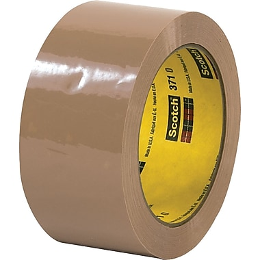 3M #371 Hot Melt Packaging Tape, 2in.x55 yds., Tan, 36/Case