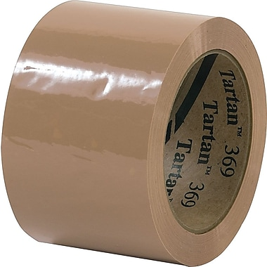 3M Tartan #369 Hot Melt Packaging Tape, 3in.x110 yds., Tan, 24/Case