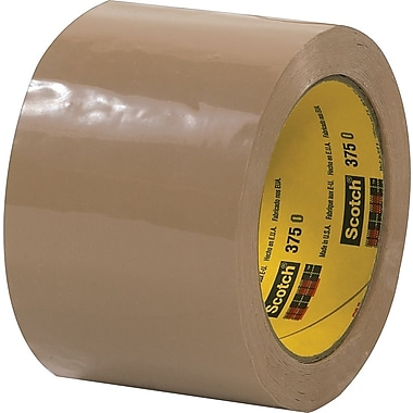 Scotch® #375 Hot Melt Packaging Tape, 3in.x55 yds., Tan, 24/Case