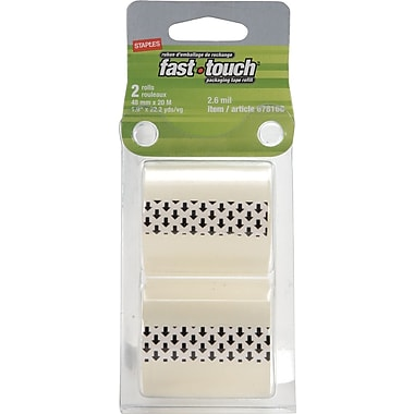 Staples® Fast Touch Packaging Tape Refill, 2.6-mil, 2-Pack