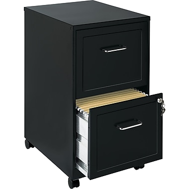 Hirsh 2-Drawer Vertical, Letter, Mobile File Cart, Black