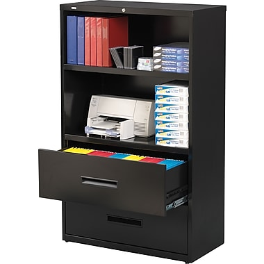 Hirsh HL5000 Series Lateral File/Bookshelf Combo, Black