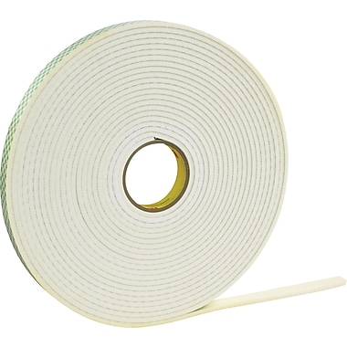 Scotch® #4462 Double Sided Polyethylene Foam Tape, 1/2in.x72 yds., 1/32in.
