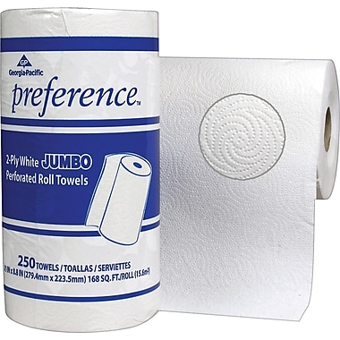 Preference®, 2 Ply, Jumbo Perforated Roll Towel, White, 250 Sheets/Roll, 12 Rolls/Case (27700 )