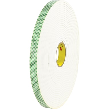 Scotch® #4004 Double Sided Polyurethane Foam Tape, 1/2in.x18 yds., 1/4in. , Roll