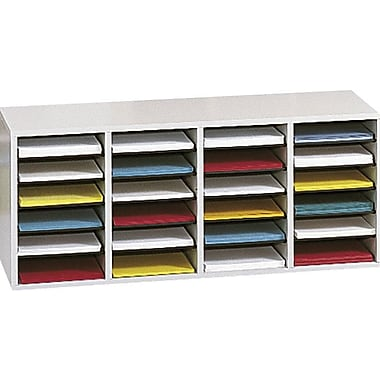 Safco® Adjustable Wood Literature Organizer, 24 Compartment, 39 1/4in. x 11 3/4in. x 16 1/4in., Gray