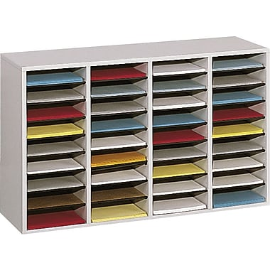 Safco  Adjustable Wood Literature Organizer, 36 Compartment, 39 1/4in. x 11 3/4in. x 24in., Gray