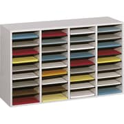 "Safco  Adjustable Wood Literature Organizer, 36 Compartment, 39 1/4"" x 11 3/4"" x 24"", Gray"