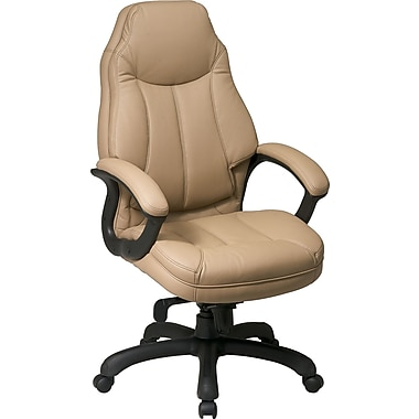 Office Star™ Faux Leather Executive High-Back Chair, Tan
