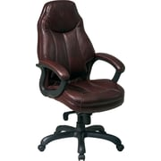 Office Star™ Faux Leather Executive High-Back Chair, Chocolate