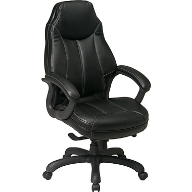 Office Star™ Faux Leather Executive High-Back Chair, Black
