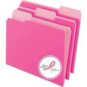 Pendaflex® Pink Ribbon Two Tone File Folders, Letter, 3 Tab, 10/Box