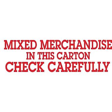 Étiquettes de manutention « Mixed Merchandise, Check Carefully », 2 po x 6 po, 500/rouleau