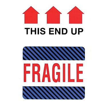 Étiquettes de manutention « bas, fragile », 4 po x 6 po, 500/rouleau