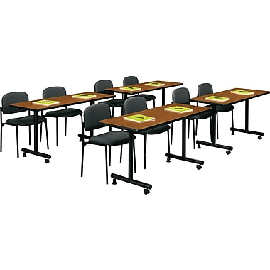basyx by HON 5' Rectangular Top Laminate Training Table, Bourbon Cherry, 24in. Wide