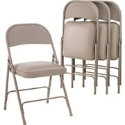 "Alera Folding Chair with Padded Seat, Fabric/Steel, Tan, Seat: 15 3/4""W x 15 1/2""D, Back: 18""W x 13 1/2""H, 4/Ct"