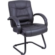 Alera® Strada Series Leather Guest Chair, Black