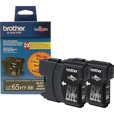 Brother LC65 Black Ink Cartridges, High Yield, Twin Pack