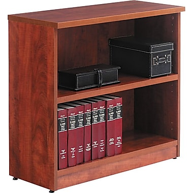 Alera Valencia Bookcase/Storage Cabinet, 2 Shelves, Medium Cherry