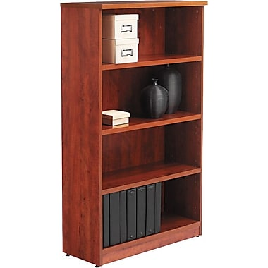 Alera Valencia Bookcase/Storage Cabinet, 4 Shelves, Medium Cherry