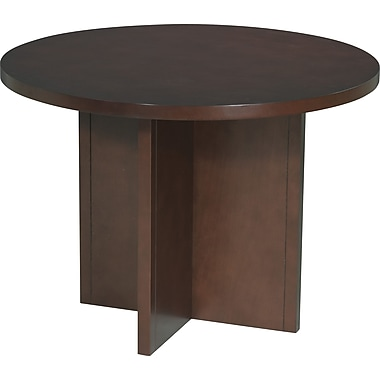 Office Star 42in. Wood Veneer Round Conference Table, Mahogany