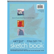 "Pacon® Art1st® Artist's Sketch Book, 9"" x 12"", Unruled, White (103207)"