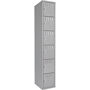 Tennsco Six-Tier Single Unit Box Locker, Medium Gray