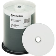 Verbatim Hub Inkjet Printable CD-R Discs, 700MB/80min, 52x, Spindle, White, 100/pk