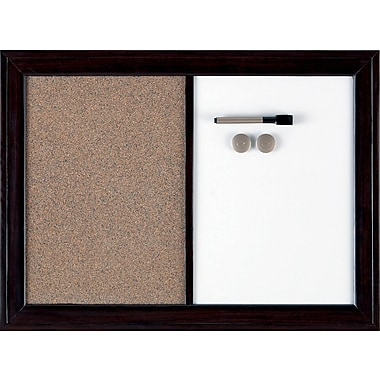 Quartet® Bulletin and Dry-Erase Magnetic Combination Board, Espresso, 17