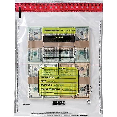 MMF Industries™ Tamper-Evident Deposit Bags, Clear, 15in. x 20in.
