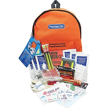 PhysiciansCare® Emergency Preparedness First Aid Backpack XL, Contains 63 Pieces