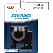 "DYMO® D1 Tape Cartridge for Electronic Label Makers, Black on White, 3/4"" W x 11.5'L, Fabric"
