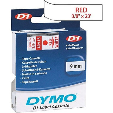 DYMO® D1 1in. Tape Cartridge for Electronic Label Makers, Red on White, 3/8in. W x 23'L