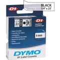DYMO 1/4in. D1 Label Maker Tape, Black on Clear