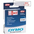 DYMO 1/2in. D1 Label Maker Tape, Red on Clear