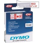 "DYMO 1/2"" D1 Label Maker Tape, Red on Clear"