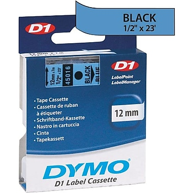 DYMO 1/2in. D1 Label Maker Tape, Black on Blue