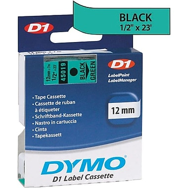 DYMO 1/2in. D1 Label Maker Tape, Black on Green