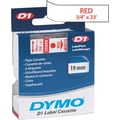 DYMO 3/4in. D1 Label Maker Tape, Red on White