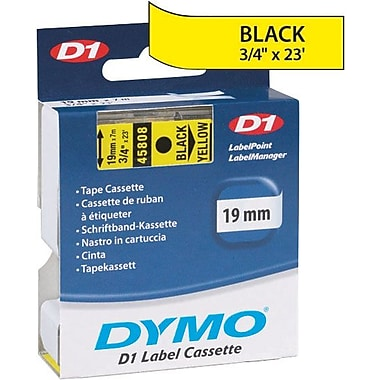 DYMO 3/4in. D1 Label Maker Tape, Black on Yellow
