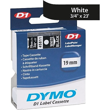 DYMO 3/4in. D1 Label Maker Tape, White on Black