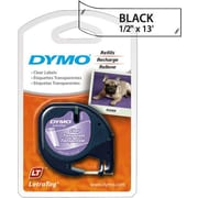 Dymo 16952 1/2 x 13' Black on Clear Polyester LetraTAG Tape
