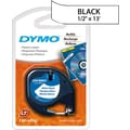 DYMO LetraTag 1/2in. Plastic Label Tape, Black on White