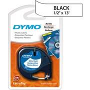 "DYMO® Dymo LetraTag Label Tape, 12mm (1/2"") Black on White Plastic"