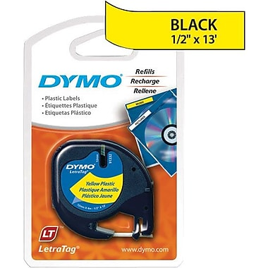 DYMO LetraTag 1/2in. Plastic Tape, Black on Yellow