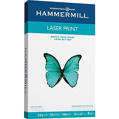 HammerMill® Laser Print Paper, 8 1/2in. x 14in., 24Lb Ream